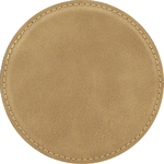 "4"" Light Brown Round Leatherette Coaster"