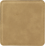 "4"" x 4"" Light Brown Square Leatherette Coaster"