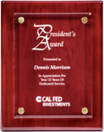 8 x 10 Rosewood Piano Finish Floating Acrylic Plaque
