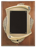 9 x 12 inch Genuine Walnut Plaque w/ Scroll Frame & plate